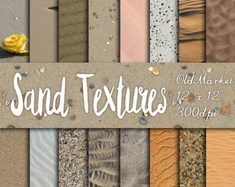 Sand Textures Digital Paper - Beach and Desert Sand Backgrounds - 16 Designs - 12in x 12in - Commercial Use - INSTANT DOWNLOAD