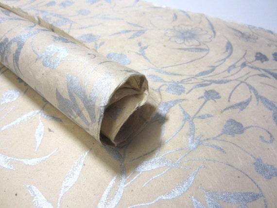 Silver Natural Flowers Handmade Lokta Mulberry Paper Sheet 50x75cm