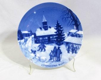 Christmas Fair in Ebeltoft 1969 Royale Blue Winter Christmas Plate