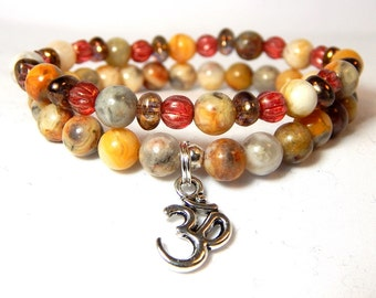 Om Bracelet, Yoga Bracelet, Beaded Yoga Jewelry, Om Charm, Beaded Yoga Bracelets, Yoga Bracelets for Women, Womens Yoga Bracelet, Om Jewelry