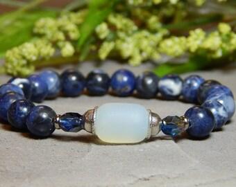 Blue Sodolite Gemstone Bracelet, Blue Bead Bracelet, Blue Gemstone Bracelet, Nature Bracelet, Womens Yoga Bracelet, Blue Beaded Jewelry