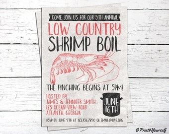 Shrimp Boil Invite // Personalized Printable Rustic Shrimp Boil Invitation // Shrimp Invite // Summer Invite // Seafood Invite // Prawn