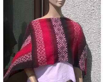 free shipping UK only,Ladies cape, Poncho.Made from 1.ply real Kauni yarn poncho.fair isle motive.Made in Shetland