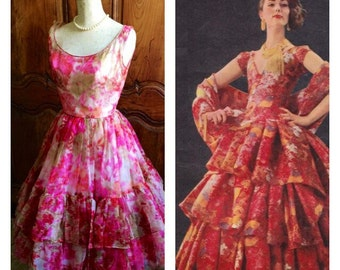 1950s Party Dress Roses Vintage 50's Red Pink Dress Floral Chiffon Summer Party Frock Red Pink 1950s Full Skirt Ruffles Bridesmaid Dress