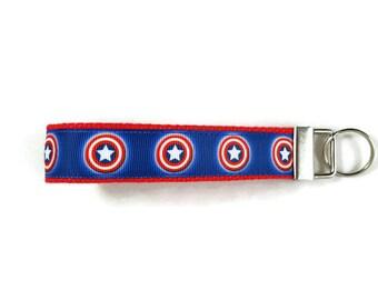 Captain America key fob, key chain, Avengers wristlet keychain, Fabric Wristlet, Fabric Key Ring