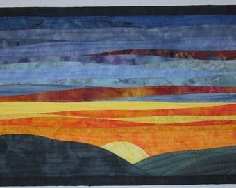 Art Quilt Sunset 43, Landscape quilt, Landscape wall hanging, Sunset wall hanging, fiber arts