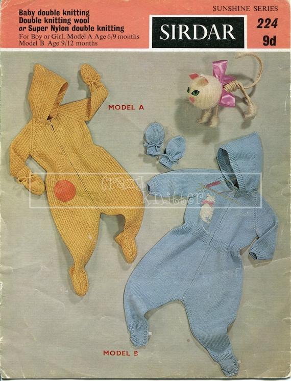 Baby Pram Suit 6-12 months DK Sirdar 224 Vintage Knitting Pattern PDF instant download
