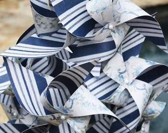 5 DAY SALE 12 Large Spinning Pinwheels Done in A Navy Stripe and Vintage Floral ... Party Favors ... Weddings ... Birthdays ... Showers