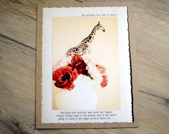 11x14 Motivational Giraffe Print • Positive Home Decor • Collectible Animal Tales Art • Fable Wall Art • Giraffe • Self Esteem Wall Art