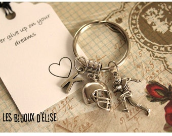 Personalized Football Keychain Sport Keychain Antique Silver
