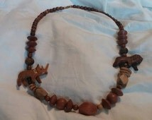 On Sale Safari Style Wooden Beaded 26 inch with Hand Carved Animals Costume Jewelry Fashion Accessory