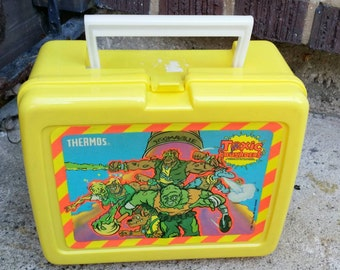 1991 Toxic Avengers Lunchbox Thermos Insulated Lunch Bag Collectible Comic Book Figurines 1990s Toys Yellow Green Mutant Cartoon Toys