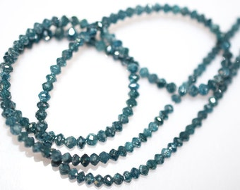 30 ct -  Spectacular RARE Blue DIAMOND Faceted Rondelle Beads -2.60-4 mm, Blue Diamond Beads 15 inch Strand
