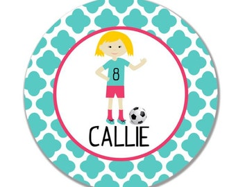 personalized Melamine Plate - custom melamine dish soccer player girl sports