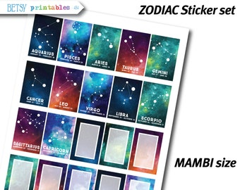 MAMBI Planner stickers Printable Stickers, planner stickers, zodiac stickers, constellations, zodiac, Happy Planner -  454