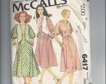 McCall's 6417 Pattern for Misses Dress & Vest, Size Small (10-12), From 1978, Loose Fit Dress, Button Vest, Vintage Pattern, Home Sewing