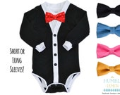 SALE Tuxedo Baby Cardigan and Bow Tie: Coming Home Outfit, Wedding, Photos, Black and White with Interchangeable Tie Shirt and Bow Tie