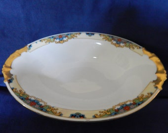 Vintage Epiag-Aich Serving Bowl with Hand Painted Gold Trim