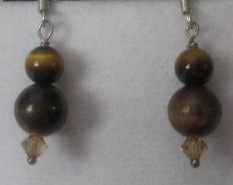 Tiger eye earrings with sterling silver hooks// #401