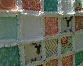 Baby Quilt, Girl, Deer, Woodland, Peach, Coral, Aqua, Gold, Mint, Rag Quilt, Crib Bedding, Baby bedding, Minky quilt, Shabby Chic quilt