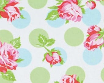 CLEARANCE Falling Roses In Blue Fabric Tanya Whelan Sugar Hill Quilters Cotton Green Blue Pink Red Roses Fat Quarter