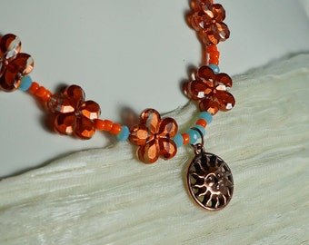 SALE, Summer Sales, Jewellery, Necklaces, Summer Necklace, Trendy flower necklace, necklace with pendant, Boho necklace, bohemian love, PPT