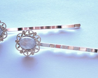 RAINBOW MOONSTONE hair bobby pins with silver plated filigree