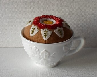 Handmade Pincushion Felted Wool Russet & Cream Flower in a Milk Glass Punch Cup