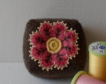 Handmade Pincushion Felted Wool Brown & Pink Floral Mini Square Pincushion