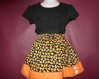 Girls Skirt, Bright orange, yellow and black, Candy corn fabric for fall fun, adjustable waist for longer wearability, Ohio made, OOAK