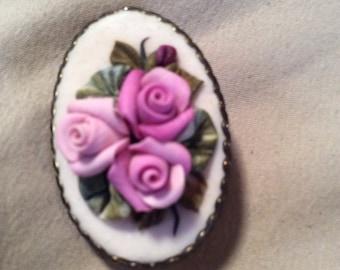 Vintage rose brooch 1-1/4 in