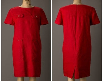 50% OFF 1980s Red Linen Dress with Pockets