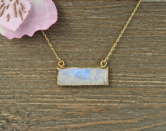 Moonstone necklace - bar necklace - rectangle necklace - rainbow moonstone - crystal necklace - june birthstone - 14k gold filled chain