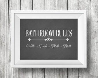 Bathroom Chalkboard Print,Bathroom Wall Decor, Vintage Style Bathroom Decor,  Bathroom Rules Sign