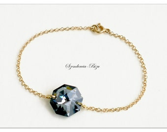 Gold plated bracelet, Swarovski Elements, Octagon 14mm, Crystal Silver Night, Gold plated bracelet, Octagon bracelet, Crystal bracelet