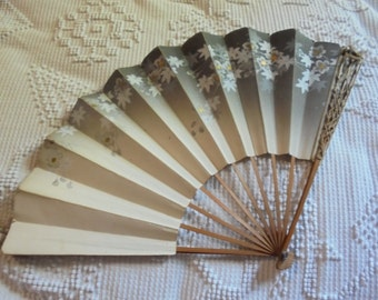 Vintage or Antique Ladie's Fan with hand stamped birds and flowers!