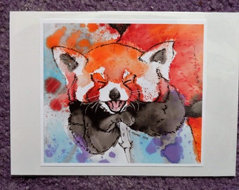 Inky Red Panda Print