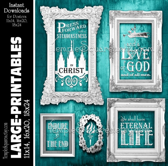 LARGE printable poster sizes yw 2016 mutual theme Press Forward with Steadfastness in Christ Young Women digital teal vintage chalkboard