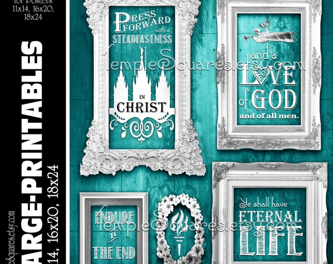 LARGE printable poster sizes yw Press Forward with Steadfastness in Christ Young Women digital teal vintage chalkboard