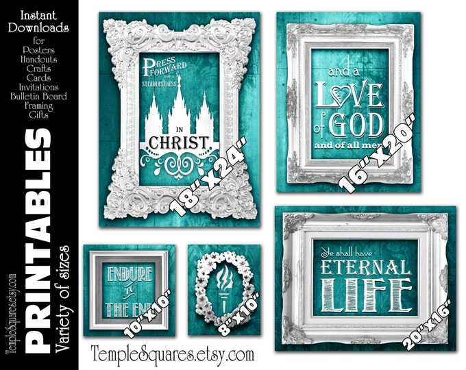 "Printable Bundle of posters Bulletin ""Press Forward"" YW Young Women Printable digital vintage chalkboard Style Teal"