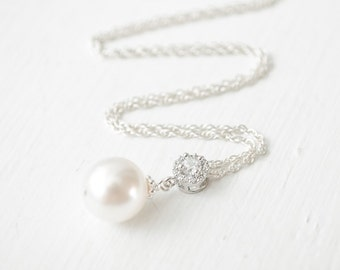 Pearl Pendant, Bridal Pendant Necklace, Sterling Silver Chain, Bridal Necklace, Wedding Necklace