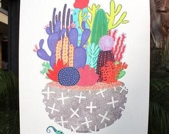 "XL Cactus Lizard Print - 18"" x 24"""