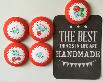 Sweet Strawberry Magnet Set, Fabric Covered Button Fridge Magnets Set of 5 in Gift Tin