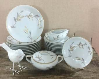 Modern Vintage Gold Plants Noritake China 5693,  Mid-Century Noritake Japan, 26 Piece Set,  Gold Flowers, Luncheon Set