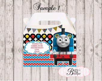 Thomas the Train favor box, Thomas the Train gable box, 10 Thomas the Train party favor gable box, Thomas favor box