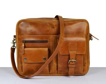 Leather handbag, Leather satchel bag, messenger bag, Leather laptop bag, Leather Shoulder bag, iPad bag. Mens Women Unisex Brown Briefcase