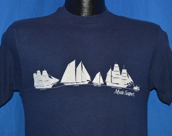 80s Mystic Seaport Connecticut Sailboat Blue t-shirt Small