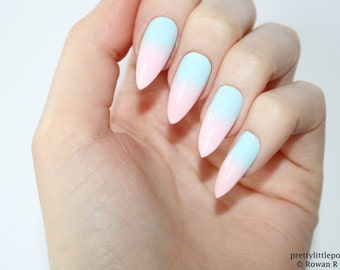 Pastel ombre gradient stiletto nails, Pastel stiletto nails, Pastel nails, Stiletto nails, Almond nails, Acrylic nails, Pointy nails