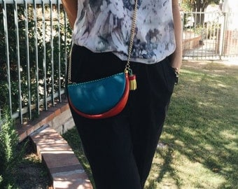 Colorful small leather Slingbag