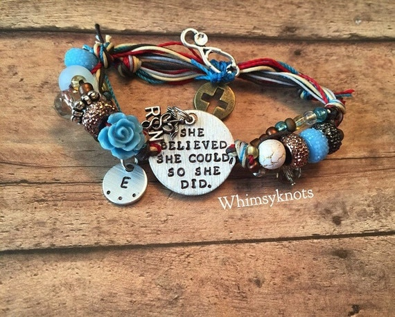 Quote bracelet, Stamped metal charm bracelet, RN gift, live-love-heal, Personalized, Hand-Stamped Jewelry
